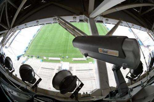 A picture taken on June 11, 2014 in Sao Paulo shows a GoalControl camera at the Arena Corinthians Stadium, on the eve of the ope