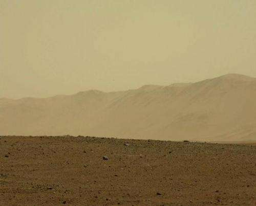 An image of the surface of Mars taken by NASA's rover Curiosity, August 9, 2012