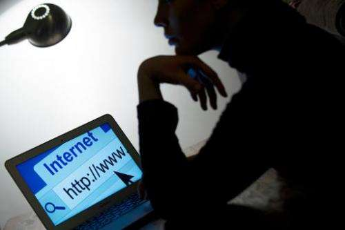 A woman looks at a webpage while connecting to the Internet on March 15, 2013 in Paris
