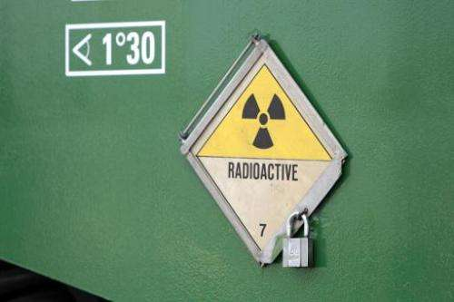 "File picture shows a radioactivity warning symbol on a ""CASTOR"" (Cask for Storage and Transportation of Radioactive Ma"