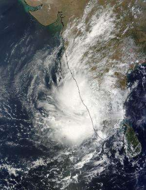 NASA sees system 91B lingering over southwestern India
