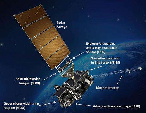 NOAA GOES-R satellite black wing ready for flight