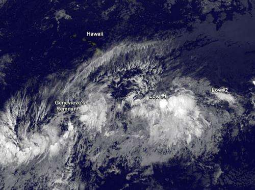 Satellite sees Genevieve's remnants chased by 2 more systems