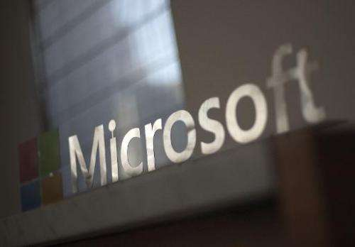 The Microsoft logo is seen at a media event in San Francisco, California on March 27, 2014