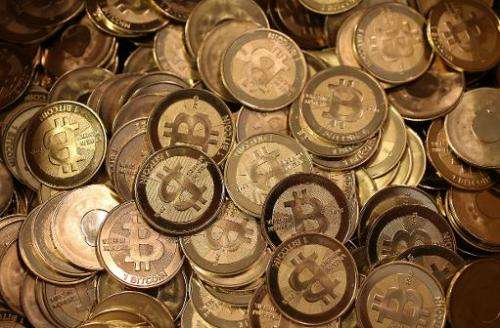 A pile of Bitcoin slugs sit in a box on April 26, 2013 in Sandy, Utah