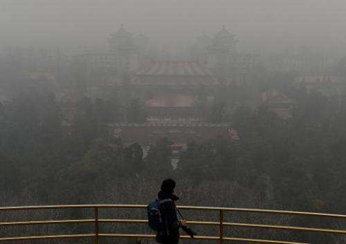 A tourist stands at the top of Jingshan Hill beside the Forbidden City as heavy air pollution continues to shroud Beijing on Feb