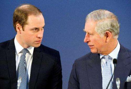 Britain's Prince William, Duke of Cambridge (L), and Britain's Prince Charles, Prince of Wales (R), talk during the Illegal Wild
