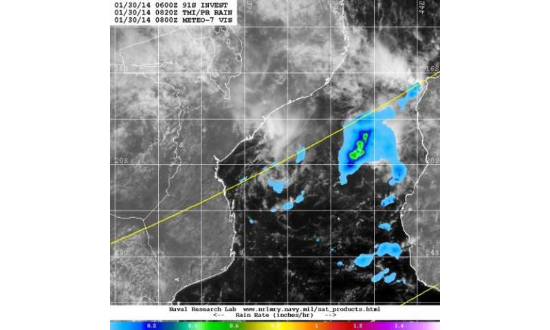 NASA satellite sees System 91S undeveloped in Mozambique Channel
