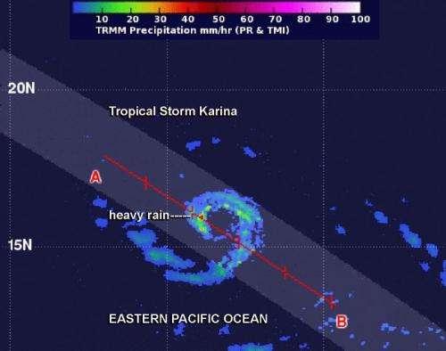 NASA sees Tropical Storm Karina losing its punch