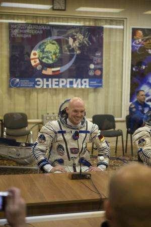ESA astronaut Alexander Gerst arrives at Space Station