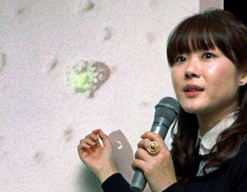 Haruko Obokata, Riken Institute researcher, at a press conference at the Riken center in Kobe in Hyogo prefecture on January 28,
