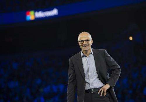 Microsoft CEO Satya Nadella speaks during his keynote address at the Microsoft Worldwide Partner Conference 2014 at the Verizon