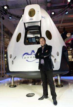 SpaceX CEO Elon Musk introduces SpaceX's Dragon V2 spacecraft, the company's next generation version of the Dragon ship designed