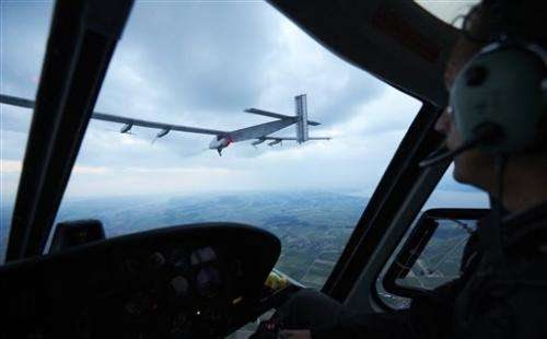 Swiss-made solar plane makes maiden flight
