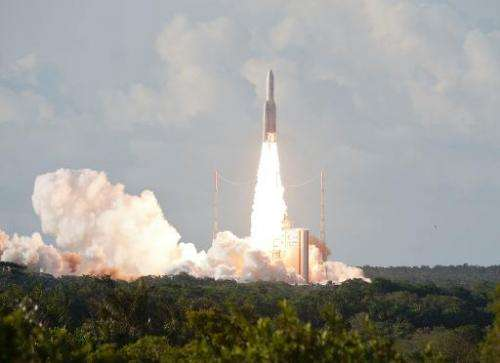 This handout picture taken on August 29, 2013, in Kourou, in the French overseas department of Guiana, shows the Ariane 5 rocket