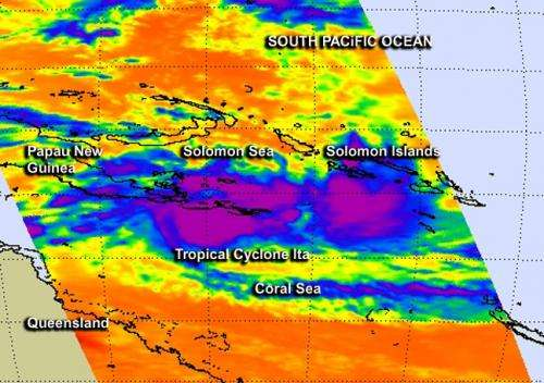 NASA's Aqua satellite reveals Tropical Cyclone Ita strengthening