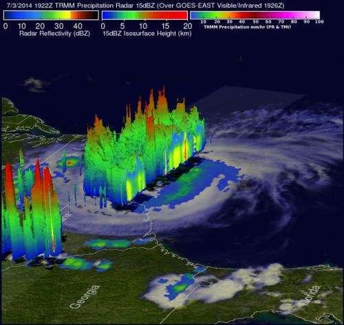 NASA sees Hurricane Arthur's July fourth fireworks on US East Coast