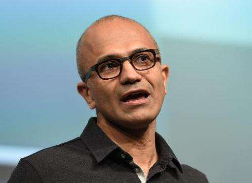 Satya Nadella, Microsoft CEO, speaks at the launch of the new Microsoft Surface Pro 3 tablet computer May 20, 2014 in New York