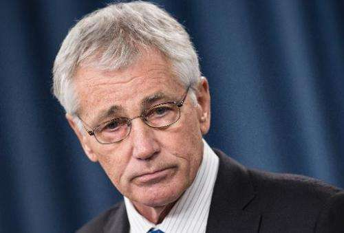 US Secretary of Defense Chuck Hagel speaks during a press conference at the Pentagon on March 26, 2014 in Washington