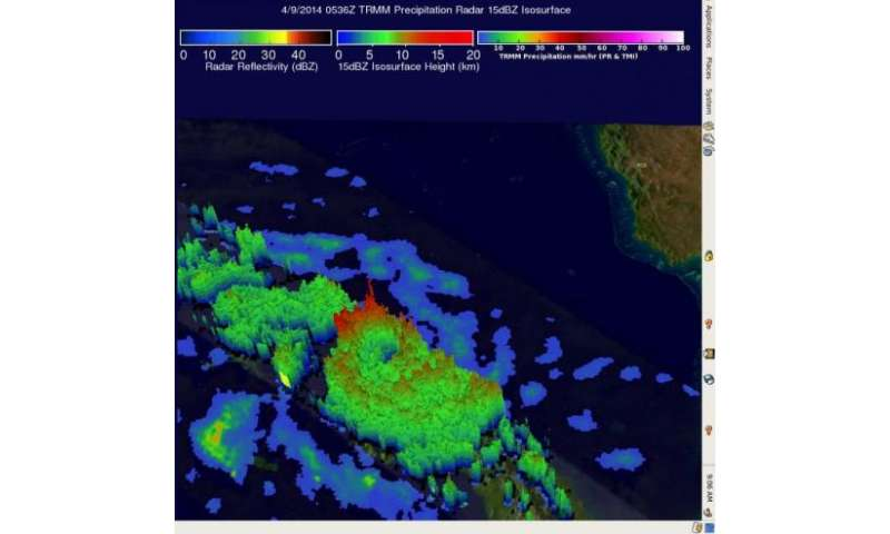 NASA's TRMM satellite sees Tropical Cyclone Ita intensifying