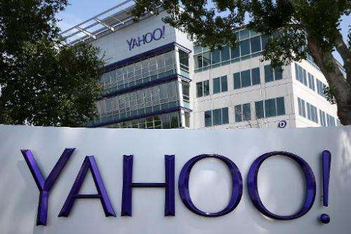 A sign is posted in front of the Yahoo! headquarters on May 23, 2014 in Sunnyvale, California