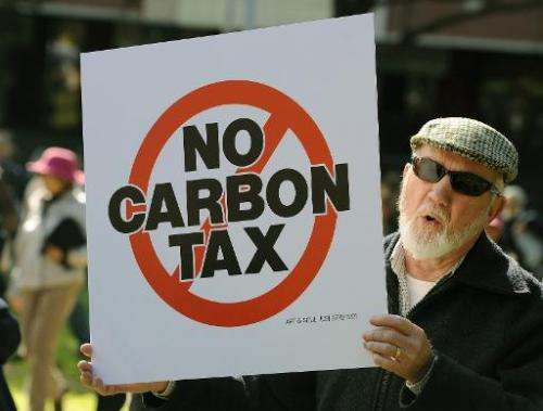 File photo of a 2012 protest in Sydney again the proposed carbon tax, which the government of Tony Abbott has axed after years o