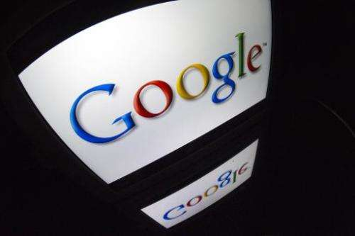 The Google logo is seen on a tablet screen on December 4, 2012 in Paris