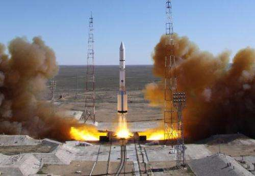 File photo taken on April 28, 2014 shows a Russian Proton rocket, carrying Russian lay satellite Luch-5V and Kazakh communicatio