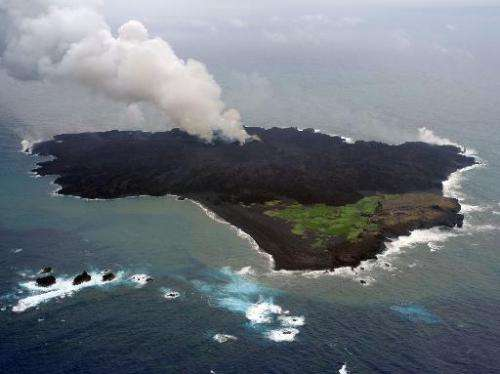 A handout photo taken by Japan Coast Guard on June 13, 2014 and received on August 19, 2014 shows the newly created volcanic Nis