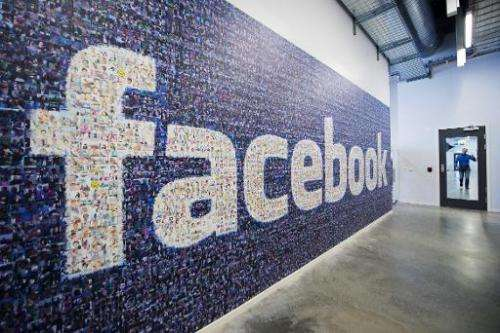 A big logo created from pictures of Facebook users worldwide is seen at the company's Data Center, in Lulea, Sweden, on November