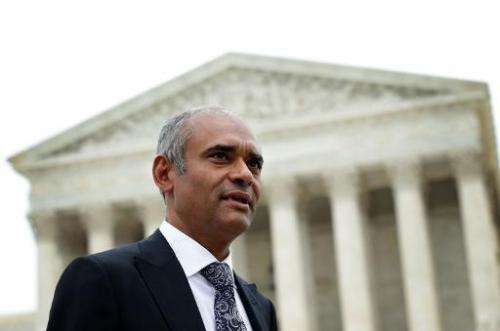 Aereo CEO Chet Kanojia leaves the US Supreme Court after oral arguments on April 22, 2014 in Washington