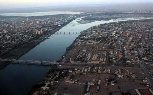 An aerial view shows the Nile river cutting through the Sudanese capital Khartoum on January 13, 2011