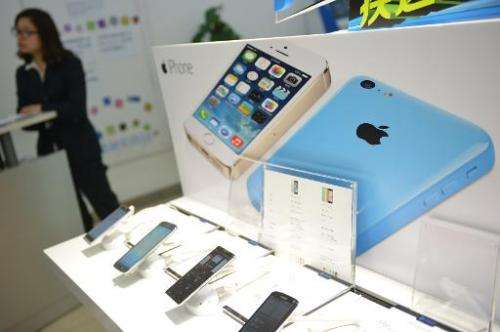 An Apple iPhone advertised in a China Mobile store in Shanghai on January 14, 2014