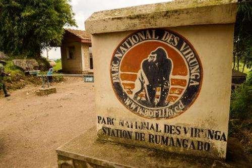 An entrance to Virunga National Park is seen near Rutshuru in eastern Democratic Republic of Congo on June 17, 2014