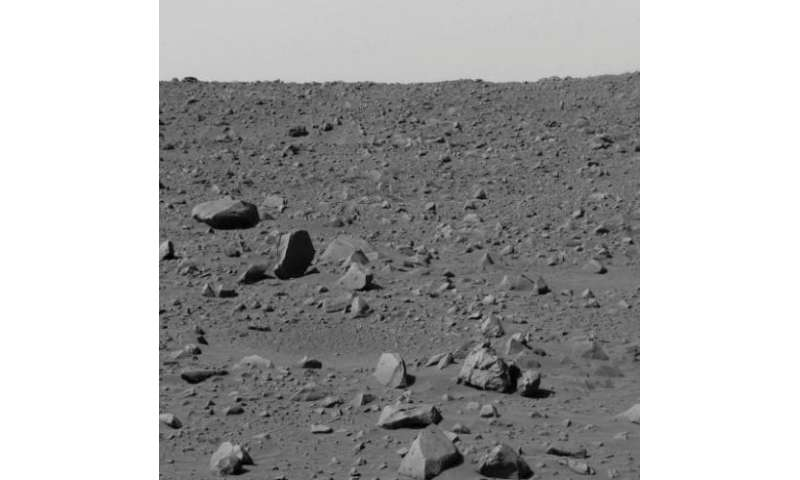 "An image captured by the Mars rover ""Spirit"" and released by NASA on March 6, 2004 shows a view of the rocky terrain o"