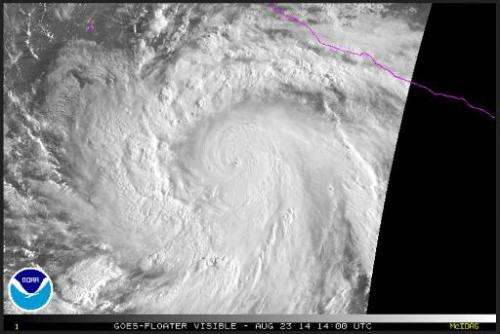 An image taken from National Oceanic and Atmospheric Administration (NOAA) shows Hurricane Marie on August 23, 2014