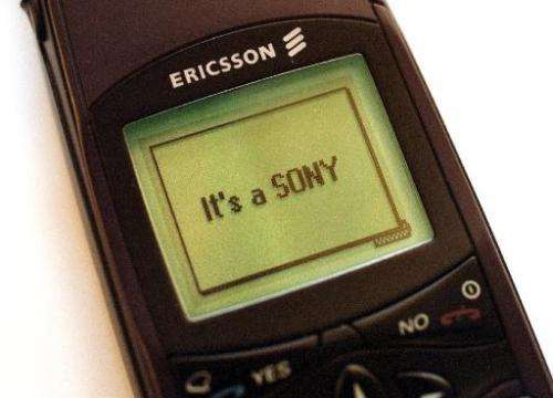 A photo of an Ericsson mobile telephone sporting the slogan of Japan's Sony Corporation, 19 April 2001 in Stockholm. Japan's Son