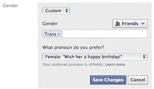 APNewsBreak: New gender options for Facebook users