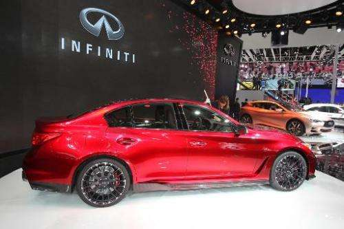 A red Nissan Infiniti car is seen on display during the 'Auto China 2014' Beijing International Automotive Exhibition, on April