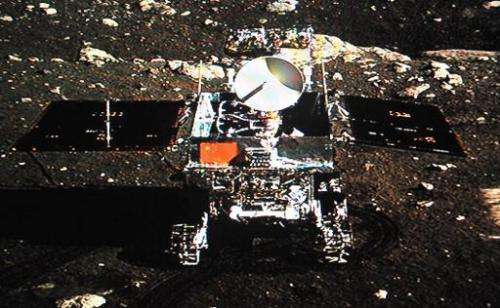 A screen grab taken from CCTV footage shows China's Jade Rabbit lunar rover taken by the Chang'e-3 probe lander on December 15,