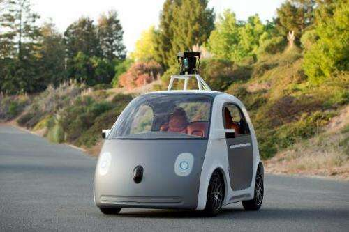 A self-driving two-seat prototype vehicle conceived and designed by Google, which provided this image on May 28, 2014
