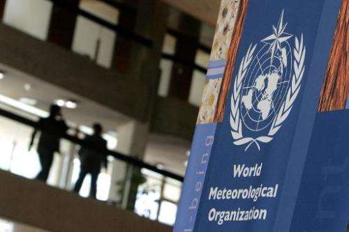 A sign of the World Meteorological Organization (WMO) is pictured on May 7, 2007 in Geneva