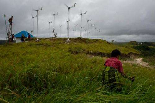 A Sumbanese woman gathers grass to feed farm animals beside a field of small wind turbines in Kamanggih village in Sumba island,