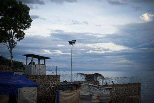 A view from a UN base on the edge of Lake Kivu in the Democratic Republic of the Congo's eastern city of Goma on May 28, 2012 sh