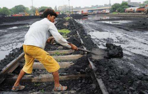 A worker lifts coal from a railway track to be transported to a truck at a railway yard in Ahmedabad in July 2013. India cancell