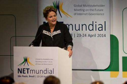 "Brazilian President Dilma Rousseff delivers a speech during the opening ceremony of the ""NETmundial – Global Multistakehold"