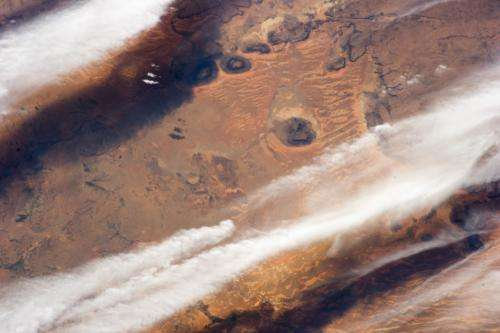 Cloud bands over the Western Sahara Desert, Mauritania