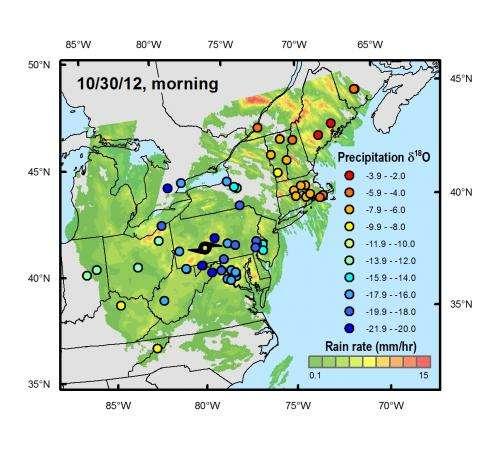 Crowdsourced rain samples map Hurricane Sandy's evolution
