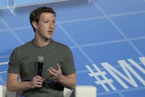 Facebook CEO and cofounder Mark Zuckerberg speaks at the Mobile World Congress in Barcelona on February 24, 2014