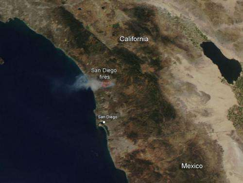 Fires continue in San Diego County, California